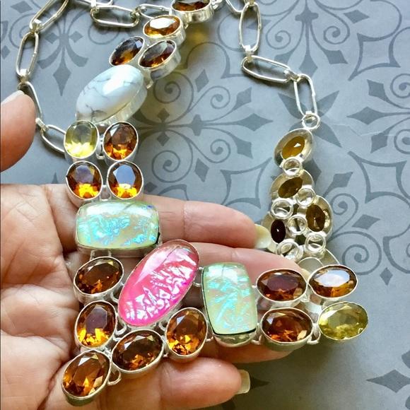 Artisan Jewelry - Fire Opal Howlite Citrine Gemstone Necklace